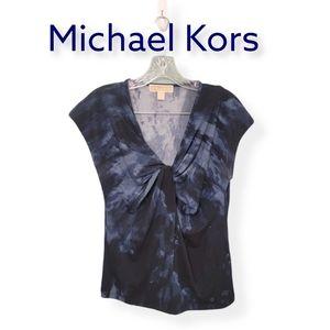 Michael Kors Scrunchy VNeck Blouse Size Medium